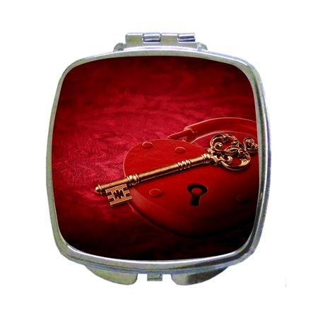 Heart Key and Lock - Compact Square Silvertone Mirror - Love/ Valentine's Day Gift