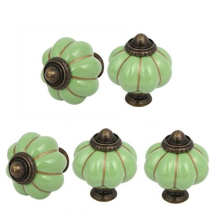 Cabinet Ceramic Handles (5pcs Ceramic Pumpkin Shape Knob Cabinet Drawer Handle Pull Green )