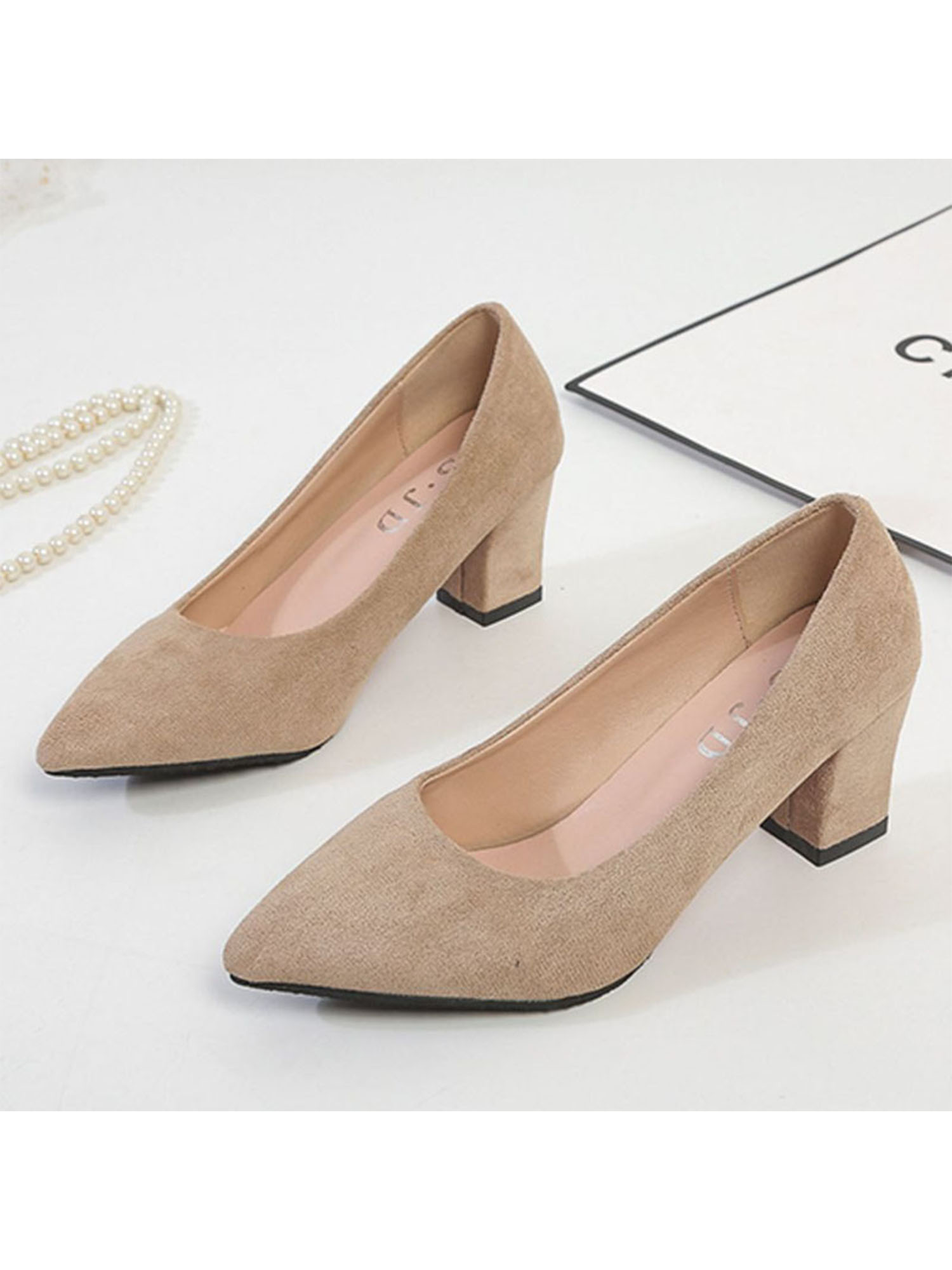 Details about  /Women Pumps Slip On Pointy Toe Low Heel Comfort Casual Office Shoes 6 Colors B