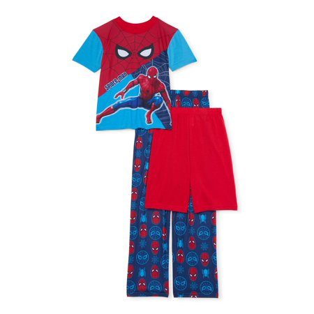 Spider-Man Boys Short Sleeve Top, Shorts & Pants, 3-Piece Pajama Set (Little Boys and Big Boys)