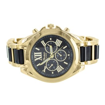 Bradshaw Gold Tone Watch MK Look Black Dial Links 2 Tone Womens Sleek Style
