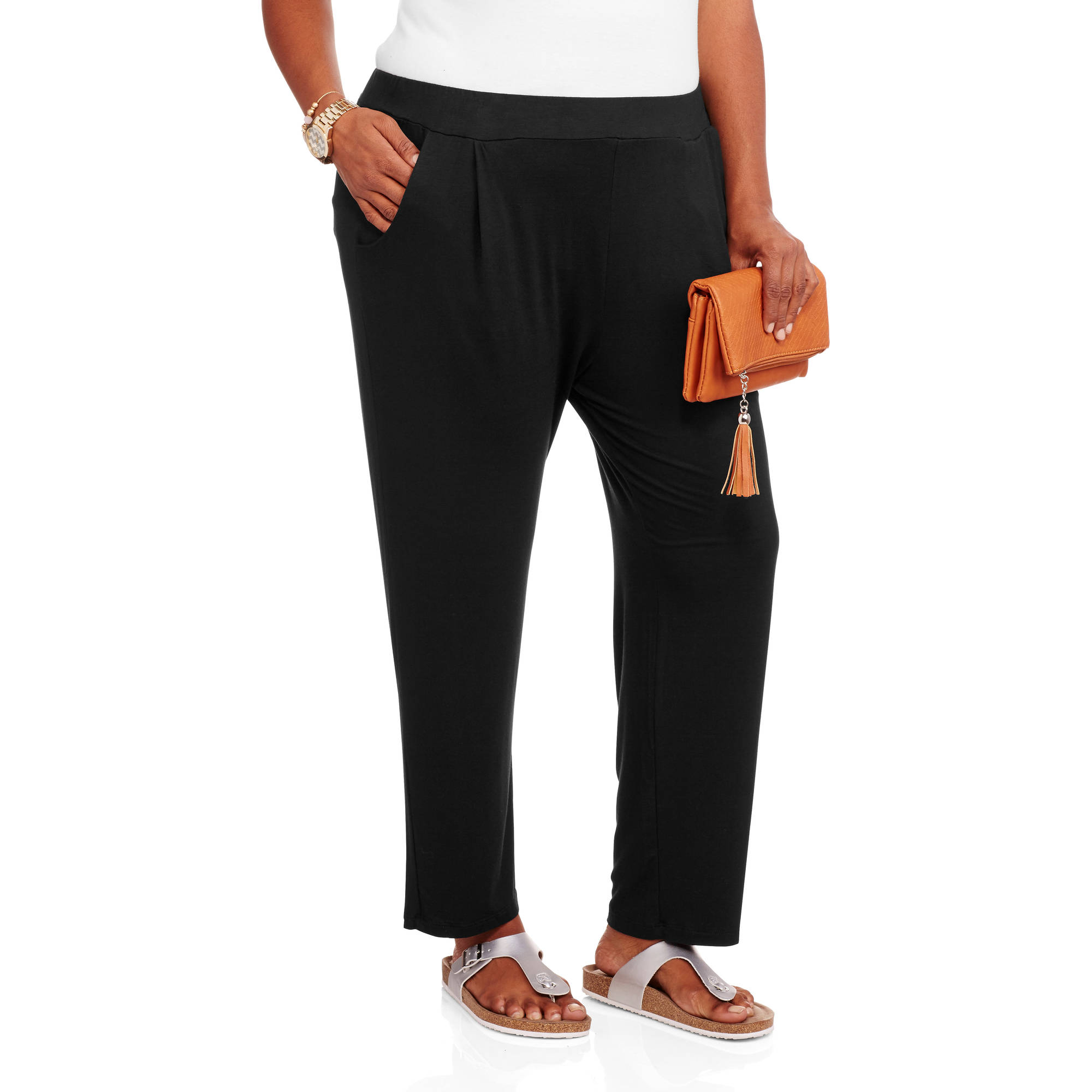24/7 Comfort Apparel Women's Plus Size 2-Pocket Straight Leg Pant
