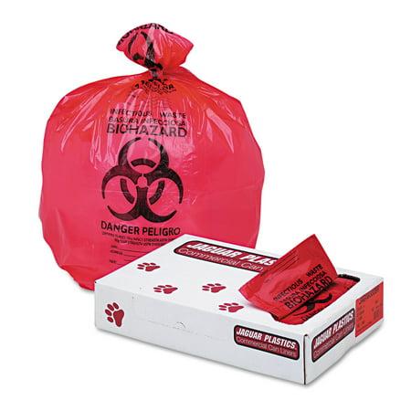 Jaguar Plastics Health Care  Biohazard  Printed Liners  1 3Mil  33 X 39  Red  150 Carton