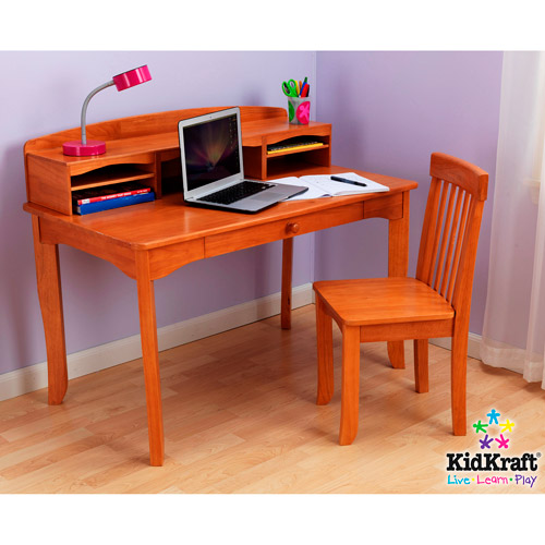 KidKraft - Avalon Desk Set with Hutch and Chair, Honey