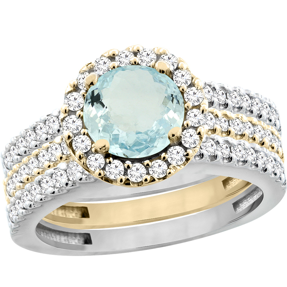 10K Gold Natural Aquamarine 3-Piece Ring Set Two-tone Round 6mm Halo Diamond, size 5 by Gabriella Gold