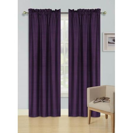 2 PANELS PURPLE SOLID BLACKOUT THERMAL ROD POCKET FOAM LINED WINDOW CURTAIN DRAPE R64 84 LENGTH (Dark Purple Curtains)