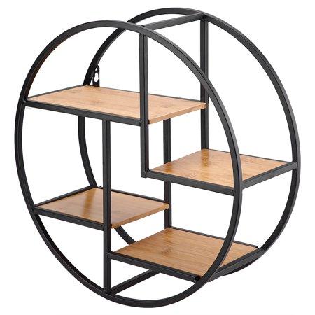 Dilwe industrial Style Wood Iron Craft Round Wall Shelf Display Rack Storage Unit Home Decor,Metal Wall Shelf, Round Wall Shelf