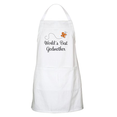 CafePress - Worlds Best Godmother Apron Gift - Kitchen Apron with Pockets, Grilling Apron, Baking