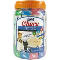 Inaba Churu Grain-Free Cat Treat, Tuna Puree Variety Pack, 50 Tubes