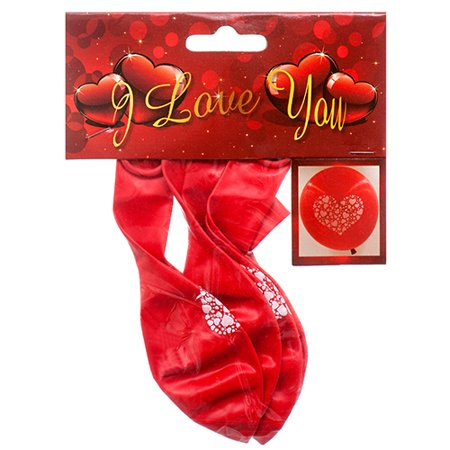 New 363835  Hv Valentine Balloon Red 5Pc W / White Heart (24-Pack) Valentine Cheap Wholesale Discount Bulk Seasonal Valentine Boys - Valentine Supplies Wholesale