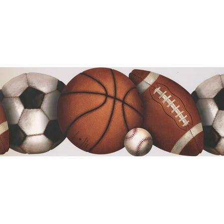 York Wallcoverings Football Baseball Soccer Basketball Balls Sports Retro Design 15' L x 10'' W Wallpaper