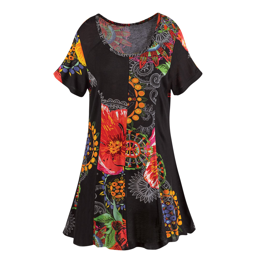 Women's Tunic Top -  Black Garden Pattern Short Sleeve Shirt