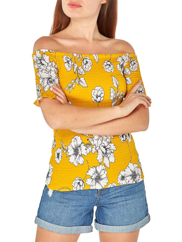 Off-the-Shoulder Floral Shirred Top