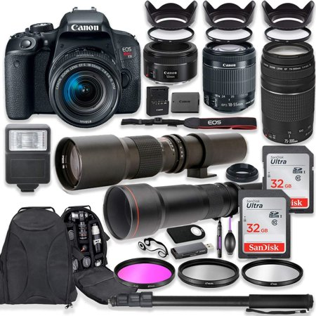 Canon EOS Rebel T7i DSLR Camera with 18-55mm Lens Bundle + Canon EF 75-300mm III Lens, Canon 50mm f/1.8, 500mm Lens & 650-1300mm Lens + Canon Backpack + 64GB Memory + Monopod + Professional