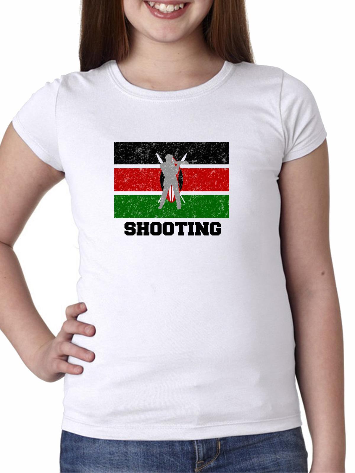 Kenya Olympic - Shooting - Flag - Silhouette Girl's Cotton Youth T-Shirt