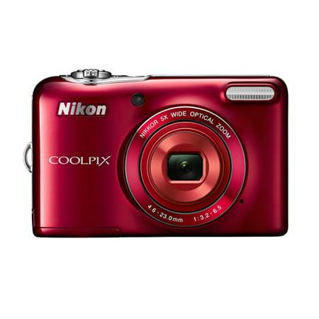 Nikon Red COOLPIX L32 Digital Camera with 20.1 Megapixels and 5x ...
