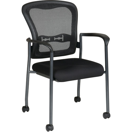 Office Star Pro Line II ProGrid Guest Reception Waiting Room Chair with Wheels, Titanium