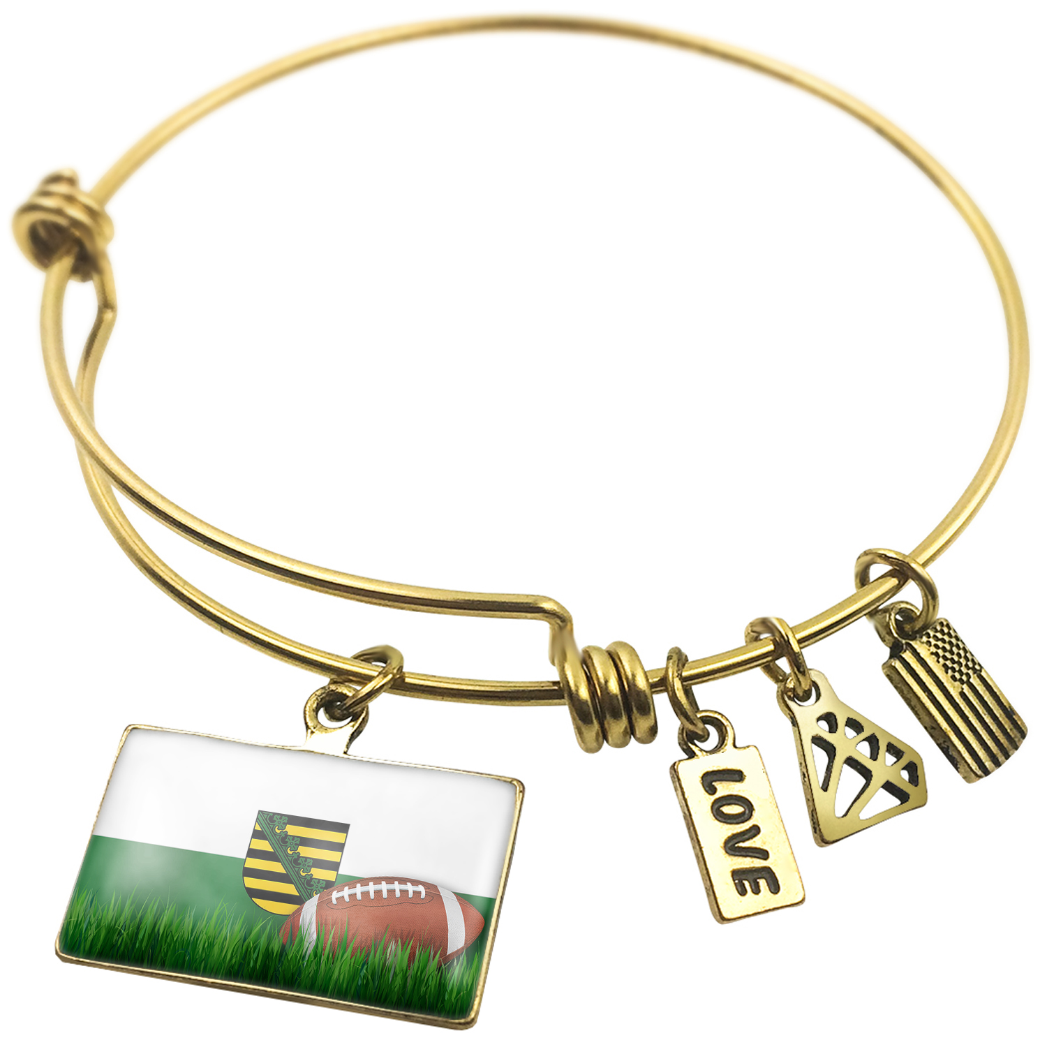 Expandable Wire Bangle Bracelet Football with Flag Sachsenregion Germany - NEONBLOND