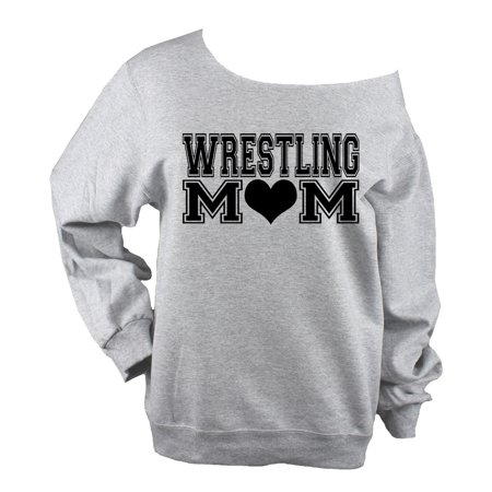 - Wrestling Mom Block Heart UNISEX  Light Heather Grey Raw Edge Sweat Shirt - Block (Glitter or Vinyl)