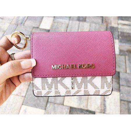 Michael kors jet set card holder key ring chain id vanilla tulip