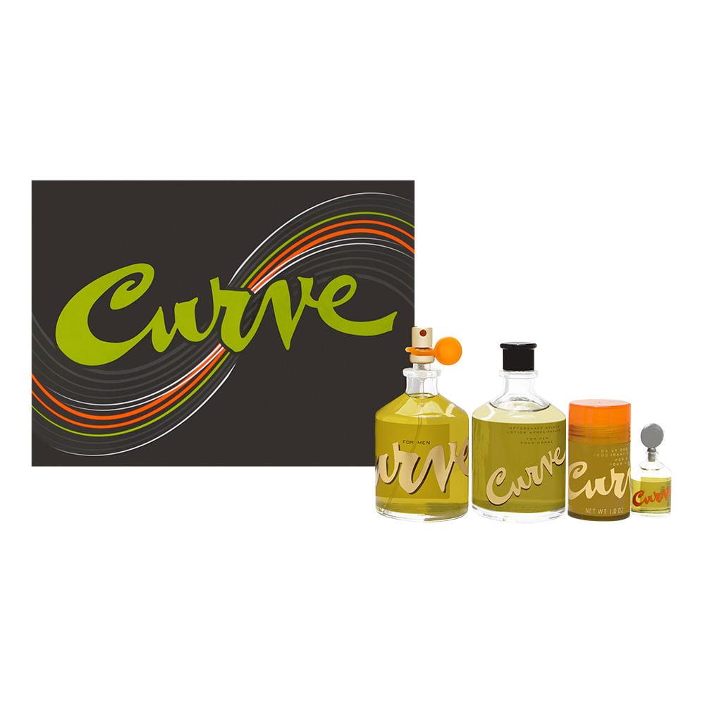 Curve by Liz Claiborne for Men 4 Piece Set Includes: 4.2 oz Cologne Spray + 4.2 oz After Shave (Glass) + 0.25 oz Cologne + 1.0 oz Deodorant Stick