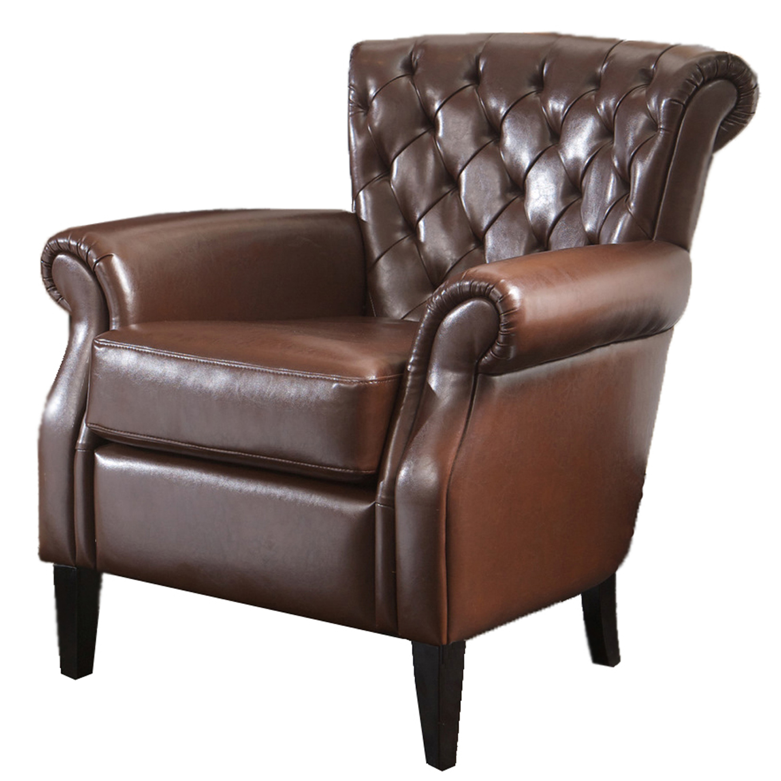 Dunn Brown Tufted Bonded Leather Club Chair