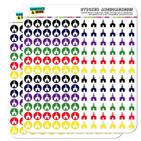 Church Steeple Cross Dots Planner Calendar Scrapbooking Crafting Stickers - Multi Color - Opaque