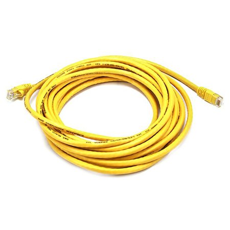 Monoprice Cat5e Ethernet Patch Cable - Network Internet Cord - RJ45, Stranded, 350Mhz, UTP, Pure Bare Copper Wire, 24AWG, 20ft, Yellow