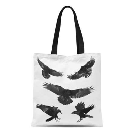 LADDKE Canvas Tote Bag Crow Birds Mix Flying Common Ravens Corvus Corax Halloween Reusable Shoulder Grocery Shopping Bags