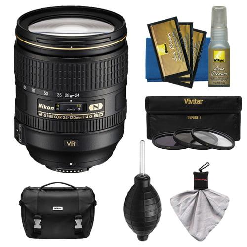 Nikon 24-120mm f/4 G VR AF-S ED Zoom-Nikkor Lens with 3-Piece Filter Set + Case + Kit for D3200, D3300, D5300, D5500, D7100, D7200, D750, D810 Cameras