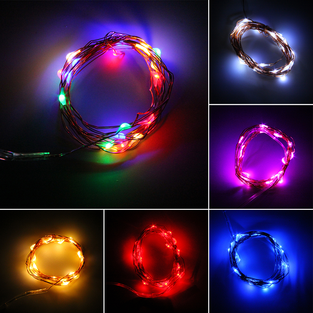 2m 20 LEDs Button Battery Operated LED Copper Wire String Fairy Lights For Christmas Party BBQ Wedding Holiday
