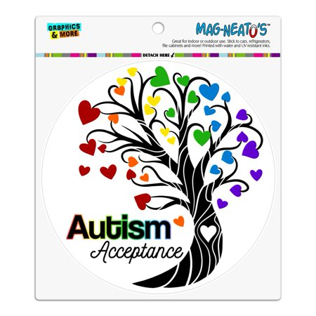 Heart Magnet - Autism Acceptance Tree of Life with Hearts Automotive Car Refrigerator Locker Vinyl Circle Magnet