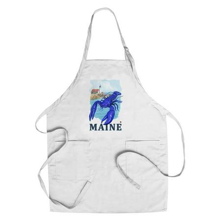 Maine   Blue Lobster   Portland Lighthouse   Lantern Press Artwork  Cotton Polyester Chefs Apron