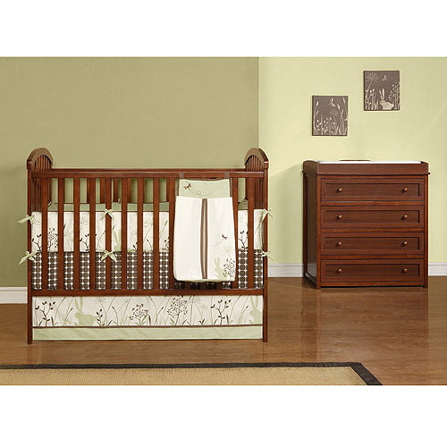 Baby Relax - My First Nursery Crib & Changing Table/Dresser Set, Walnut