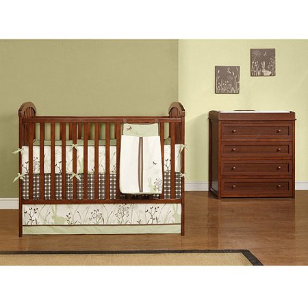 Baby Relax My First Nursery Crib Changing Table Dresser Set Walnut