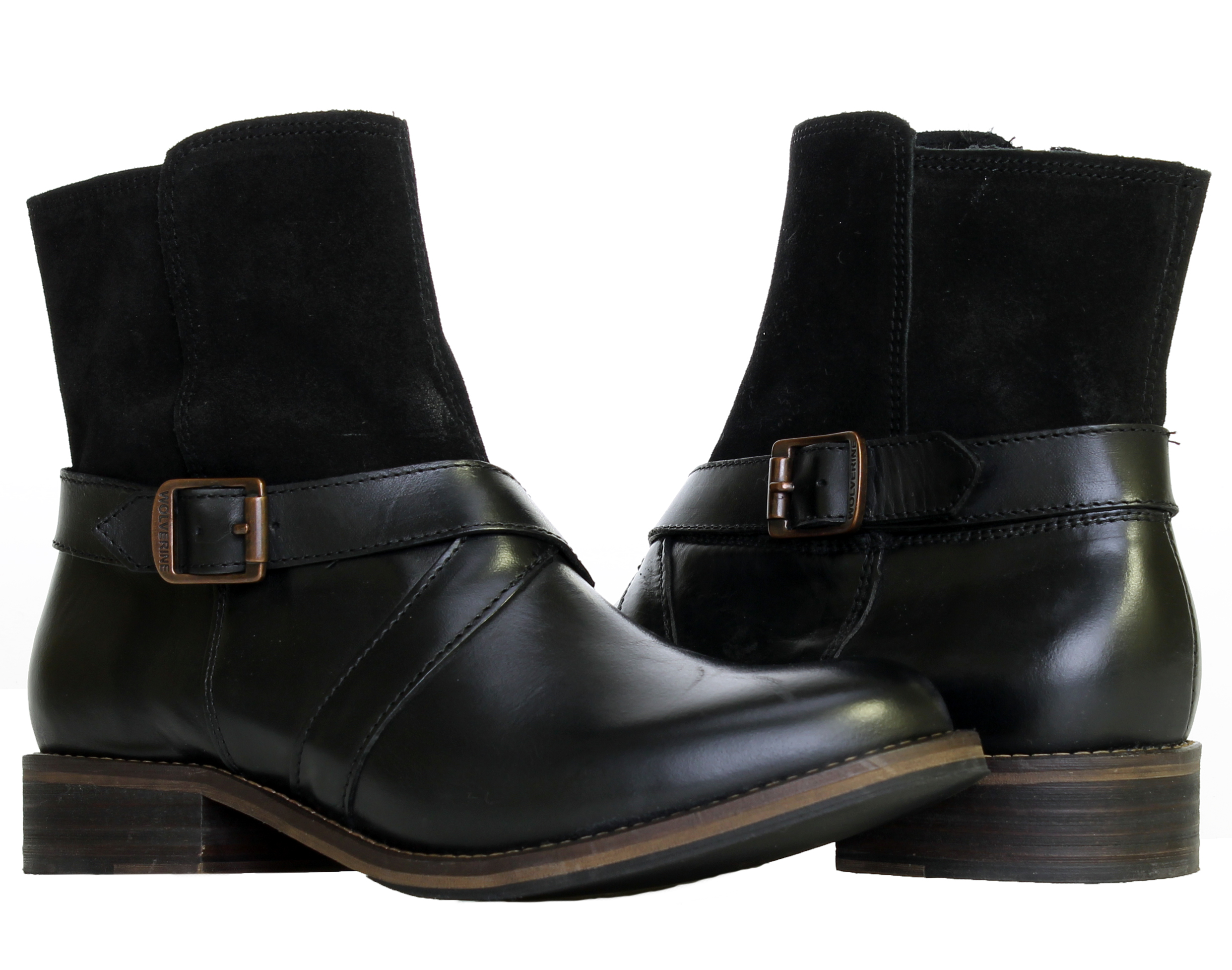 1883 by Wolverine Pearl Black Leather Women's Ankle Boots W40089 by Wolverine