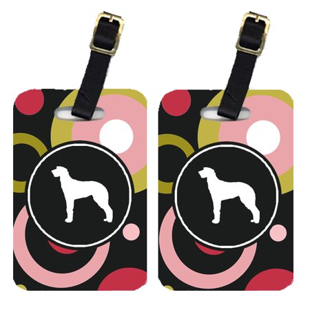 Pair of 2 Scottish Deerhound Luggage Tags