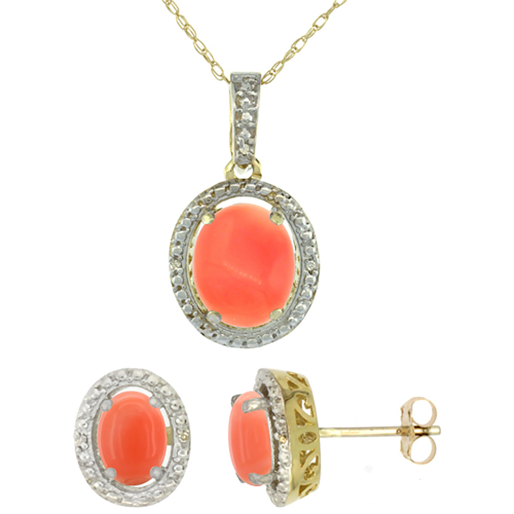 10K Yellow Gold Natural Oval Coral Earrings & Pendant Set Diamond Accents by WorldJewels