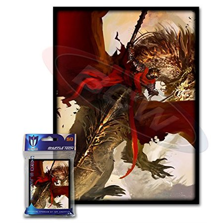 Trading Card Set Sleeves - (200) Crimson Rider Design Large Gaming Trading Card Protector Sleeves for Magic the Gathering, Pokemon, World of Warcraft, Kaijudo Duel Masters and Cardfight Vanguard Cards By Max Protection