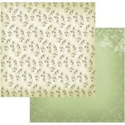 "Vintage Rose Garden Double-sided Paper 12""x12""-blooms In Green - Case Pack Of 5"