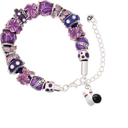 Silvertone Bowling Pins with Bowling Ball Purple Butterfly Bead Bracelet