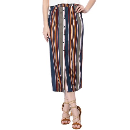 Women's Button Down Maxi Skirt Front Slit Hem Striped Decorative Long Dress Multi M (US 10)