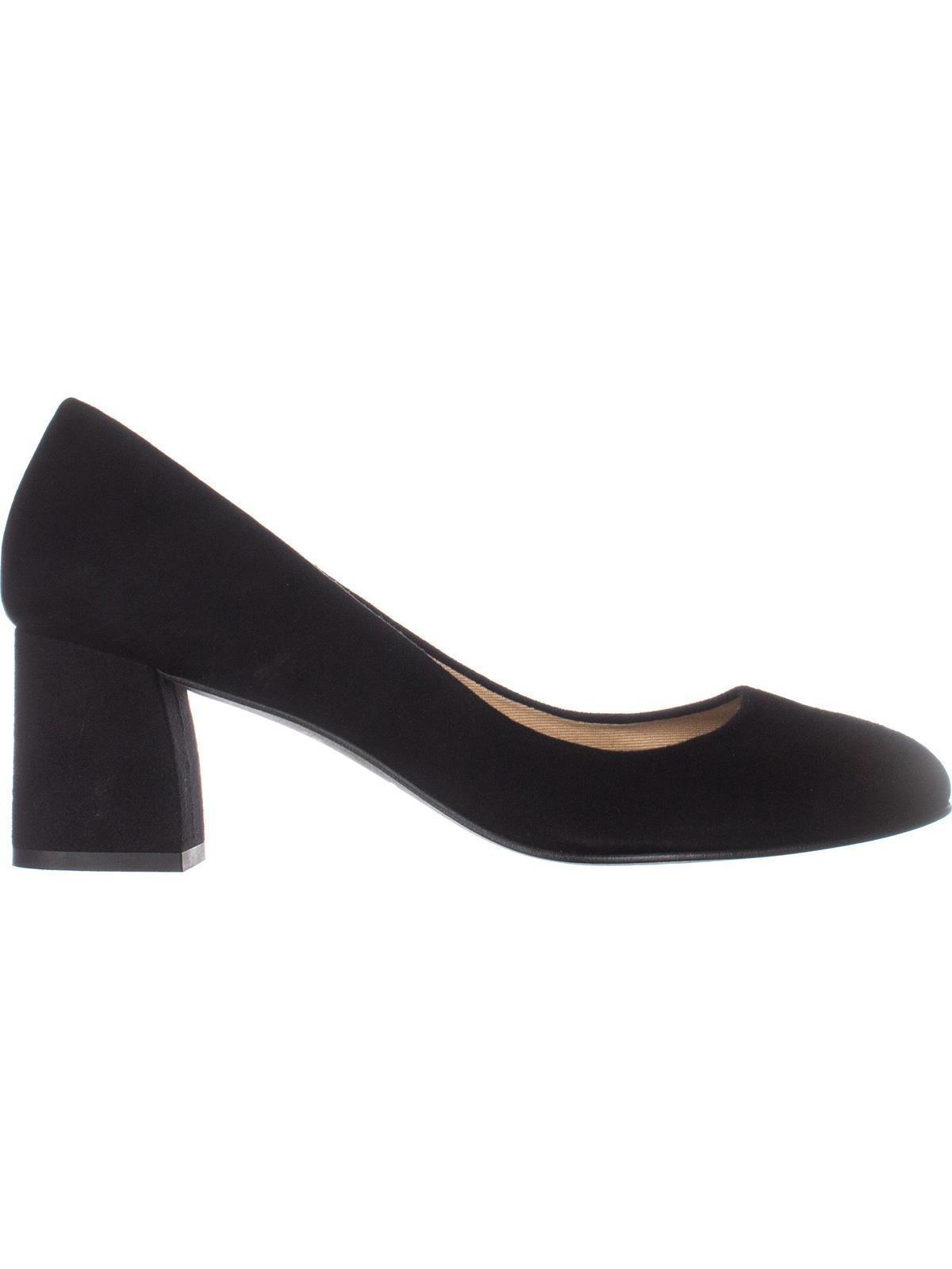 Womens French Sole Trance Block Heel Pumps, Black Suede, 8.5 US