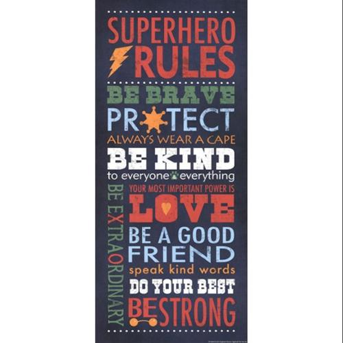 Superhero Rules Poster Print by Stephanie Marrott (8 x 18)