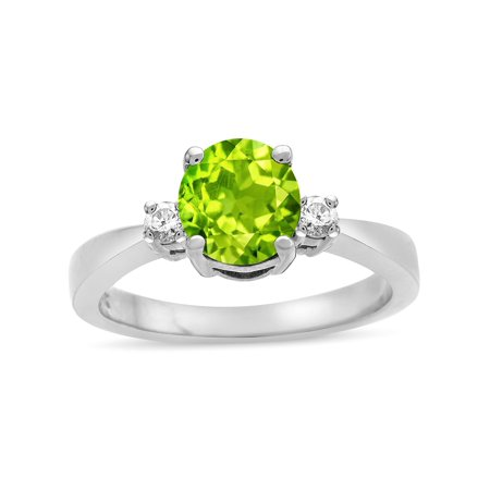 (Star K 3 Three Stone Round Genuine Peridot Classic Engagement Promise Ring)
