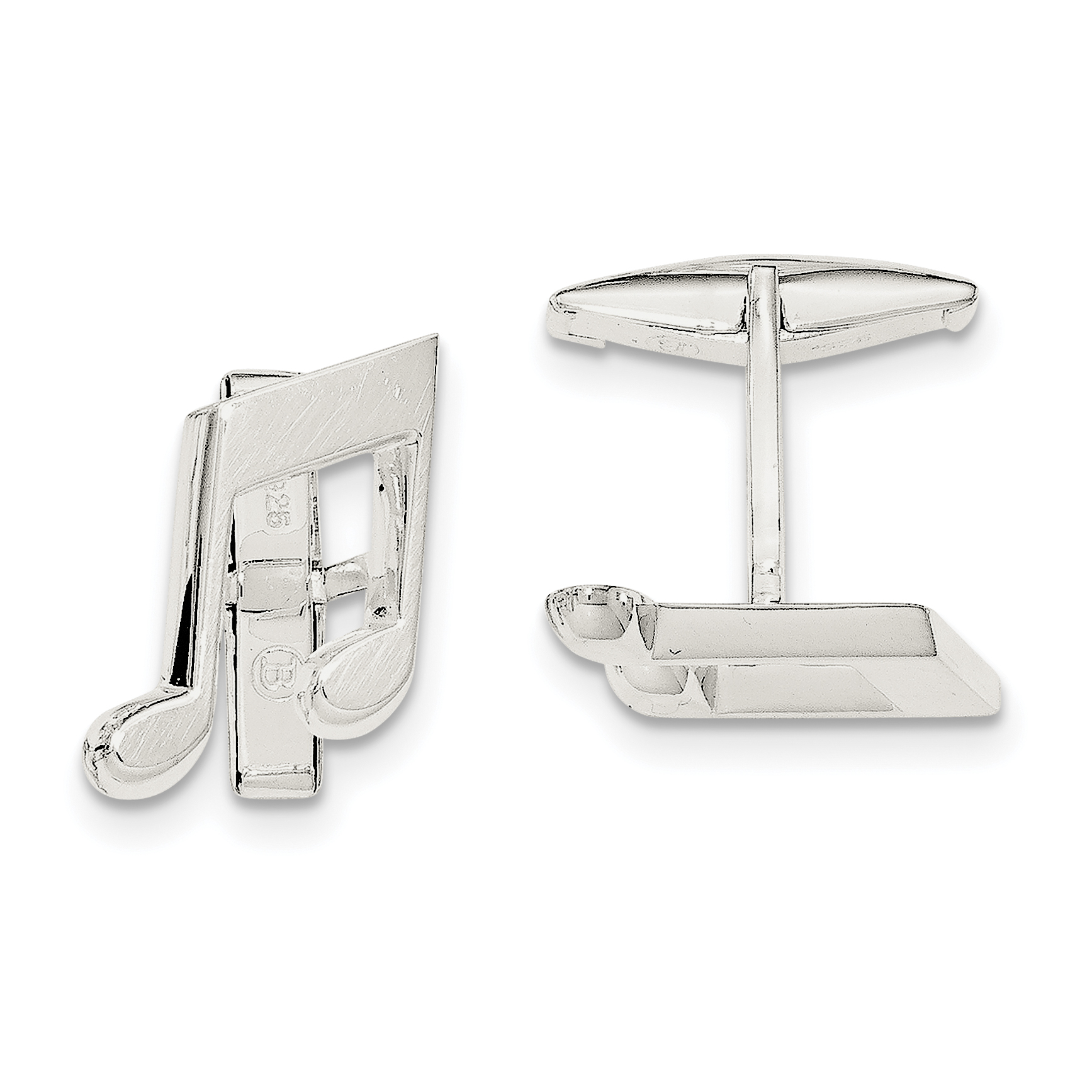 925 Sterling Silver Music Note Cuff Links