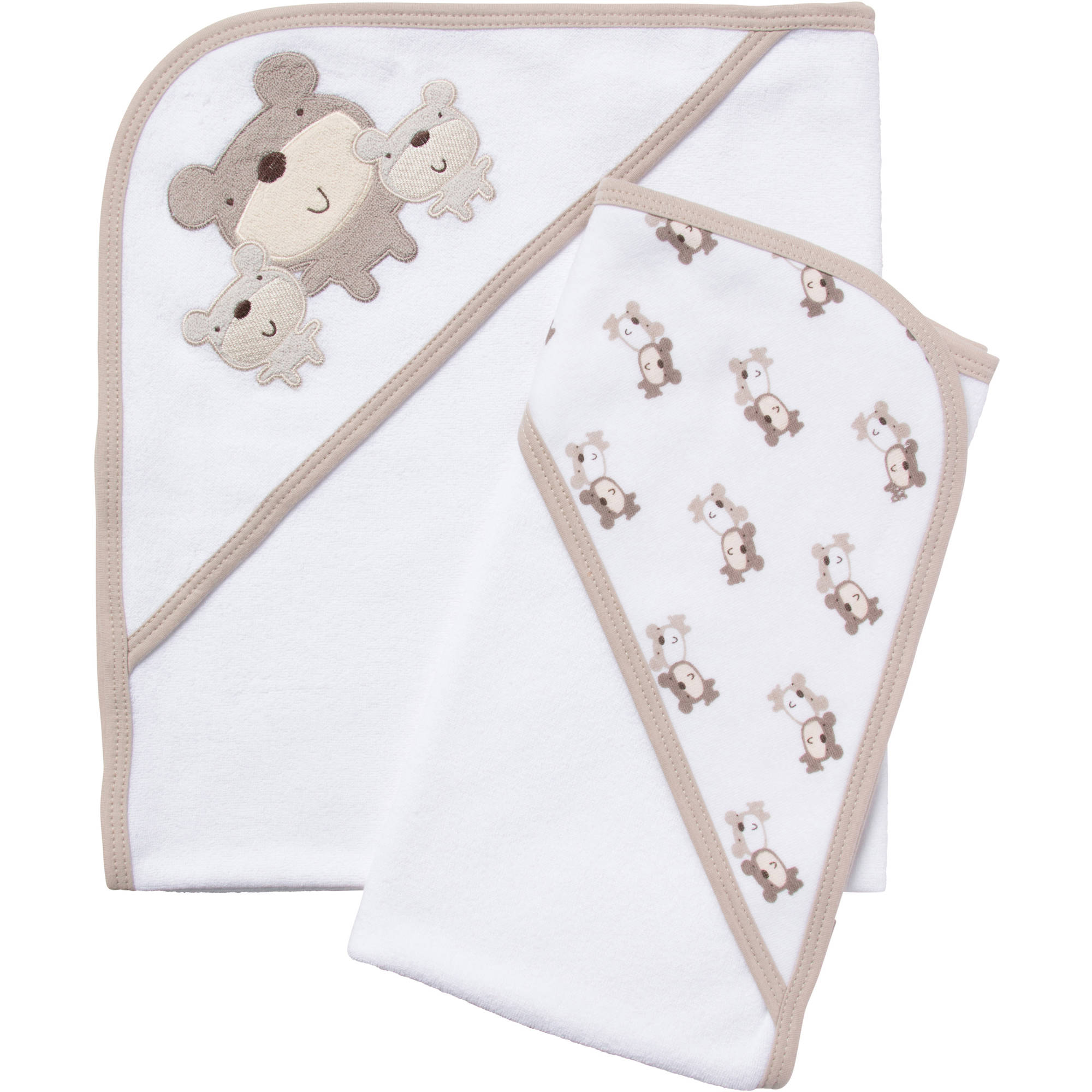 Gerber Newborn Baby Neutral Terry Hooded Bath Towels, 2-Pack