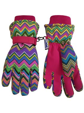 N'Ice Caps Women's Thinsulate and Waterproof Fashion Print Zig Zag Winter Gloves