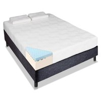 "Ktaxon 12"" Memory Foam Queen Mattress with 2 Pillows,Three Layers,High Softness,White"