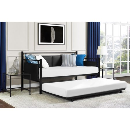 Black Daybed Trundle - DHP Astoria Metal and Upholstered Daybed and Trundle, Black